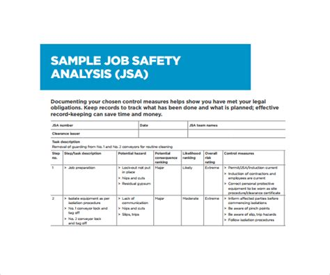 free jsa template hazard analysis worksheet abitlikethis