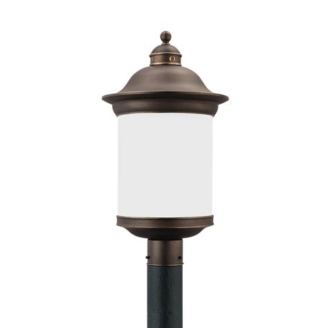 Seagull Outdoor Lighting Sea Gull Lighting Hermitage 1 Light Outdoor Antique Bronze Post Light 89298en 71 The Home Depot