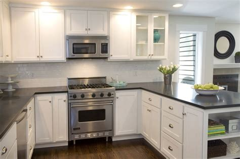 Kitchen With Black Countertops And White Cabinets by White Cabinets Countertops Kitchen