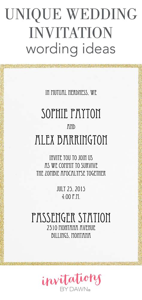 Wording Wedding Invitations by Unique Wedding Invitation Wording Ideas Invitations By