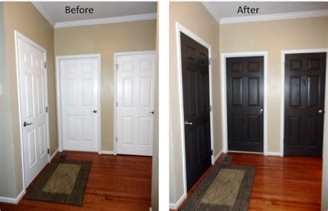the interior doors the paint was valspar from lowes in satin finish the color is