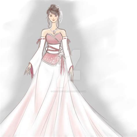 Yuna Top Purple Veyl wedding dress anime pencil and in color