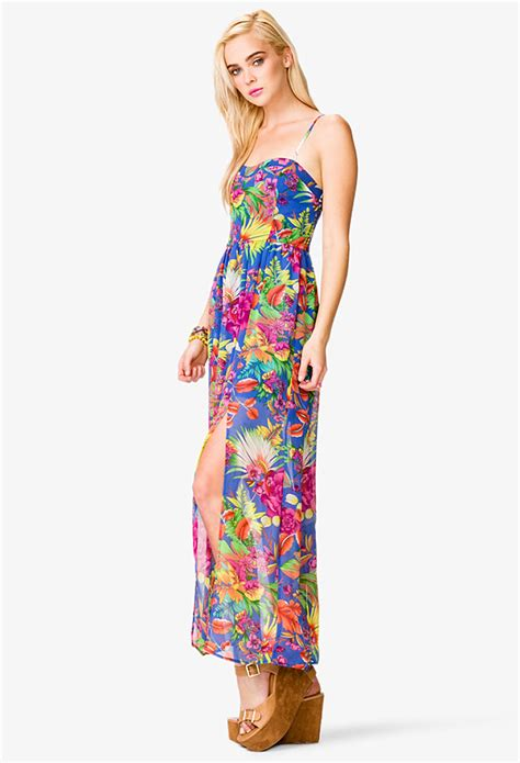 Taypia Flowery Maxi Dress lyst forever 21 floral print slit maxi dress