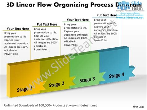 ppt 3d linear flow organizing process diagram layouts