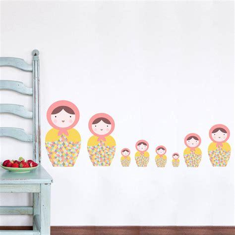 russian doll wall stickers babushka matryoshka dolls pk1 fabric wall stickers by snuggledust studios notonthehighstreet
