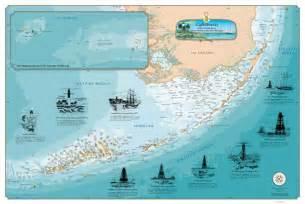 lighthouses florida map laminated florida lighthouses chart nautical