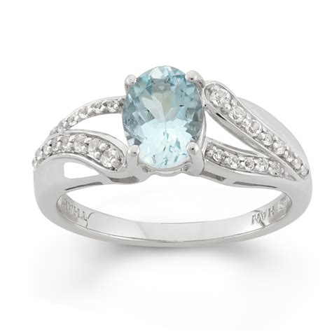 sterling silver oval aquamarine white topaz ring size 7