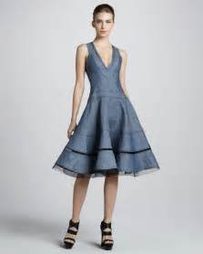 donna karan new york denim fit and flare dress in blue