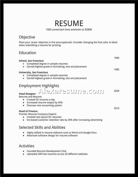 Template For Time Resume by Student Resume Exles Best Resume Collection
