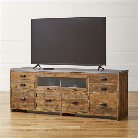 rooms to go media console brown and gray reclaimed wood media console