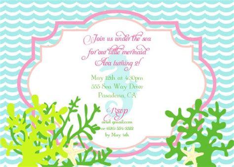 the sea invitation template mermaid birthday invitation disney