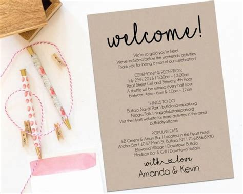 Welcome Letter Wedding Itinerary Printable Welcome Letter Itinerary Printable Wedding Welcome Bag Letter Template