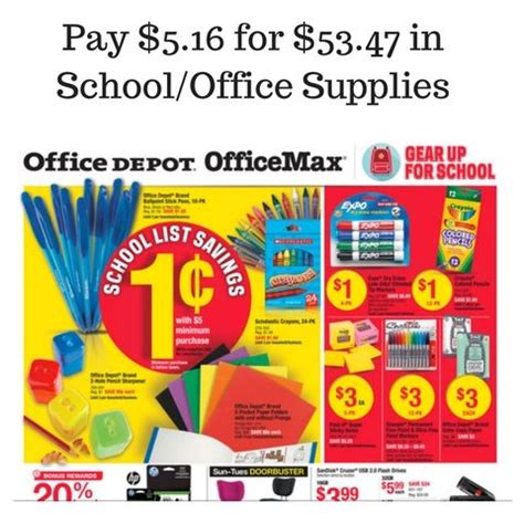 Office Supplies Home Depot Office Depot Officemax Sales 8 14 8 20 Pay 5 16 For