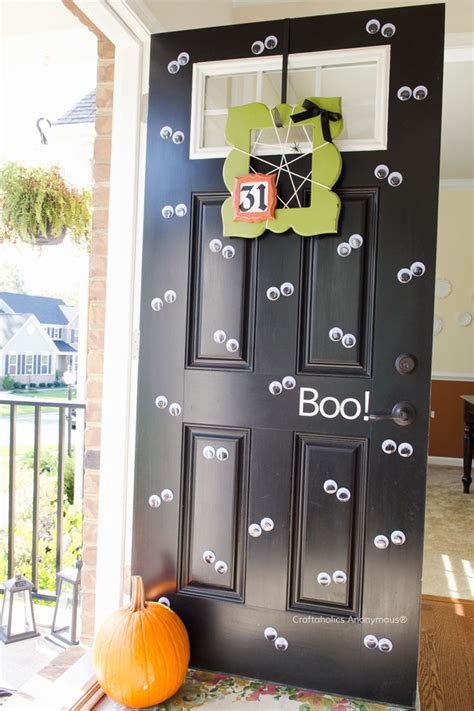 mustache and googly eyes door decor front door decorations for halloween