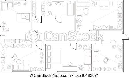 Plan Wohnung by Vektor Abstrakt Wohnung Plan Two Bedroom Vektoren