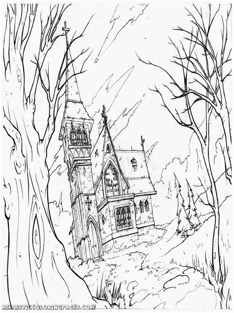 adult haunted house halloween haunted house coloring pages realistic coloring pages