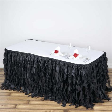 curly willow table skirt 17ft curly willow taffeta table skirt black efavormart