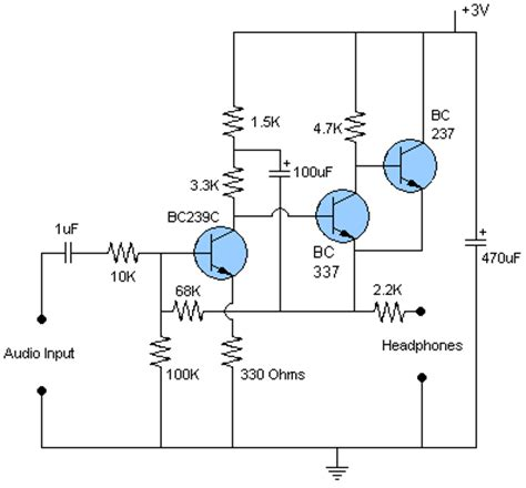 transistor headphone lifier schematic diy headphone circuit diagram