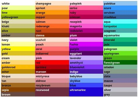 names of colors color dictionary color mixing paints