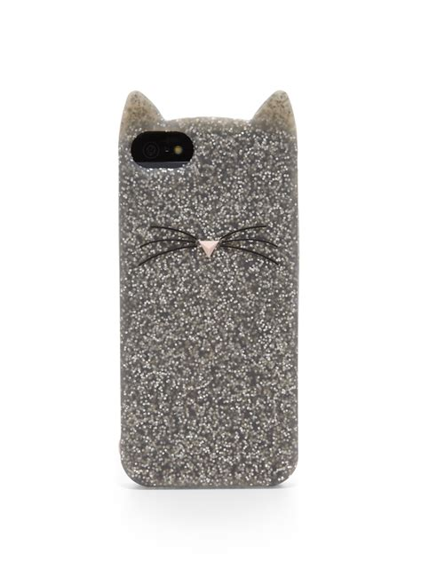 lyst kate spade new york glitter cat silicone iphone 5 5s in metallic