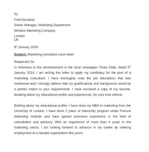 marketing consultant cover letter marketing cover letter exle 11 free
