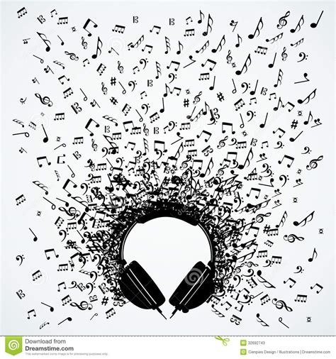 design notes music notes from headphones isolated design stock vector
