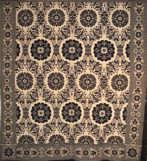 E Snyder 1850 Ny State Antique Jacquard Coverlet