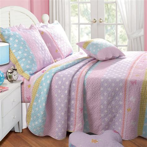 pink girls comforter polka dots twin single quilt set girls butterfly
