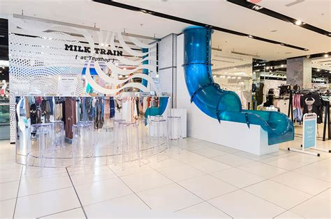 T2b Shopping Topshop Experience And Then Some you can ride a water slide inside topshop housekeeping