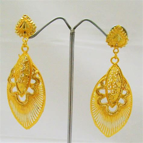 Gold Plated Chandelier Earrings Statement Filigree Gold Plated Dangle Chandelier Earrings Pair