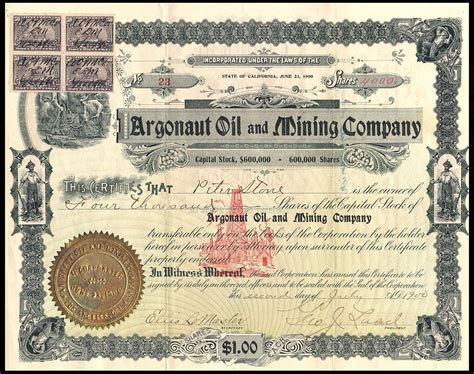 Revenue Code Section 1014 by File Argonaut Mining Co Stock 1900 And Rev Sts