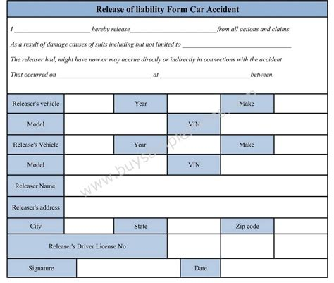 download car accident waiver and release of liability form