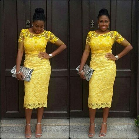 yellow fitted buba celebrities photos nigerian lace short gown styles for