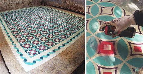 tile paint spray artist spray paints floors of abandoned buildings with