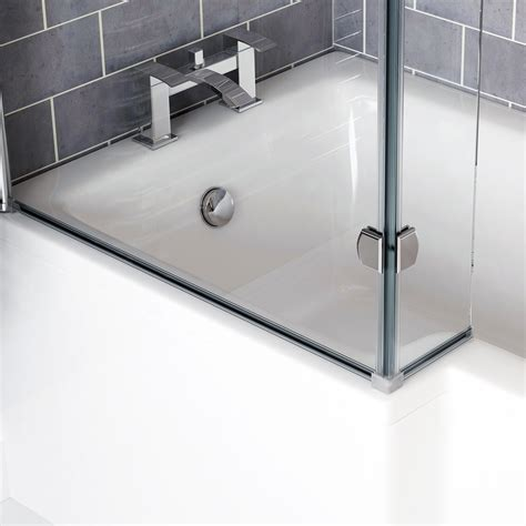 1800 shower bath left right l shaped shower bath 1500 1600 1700 1800 shower screen waste ebay