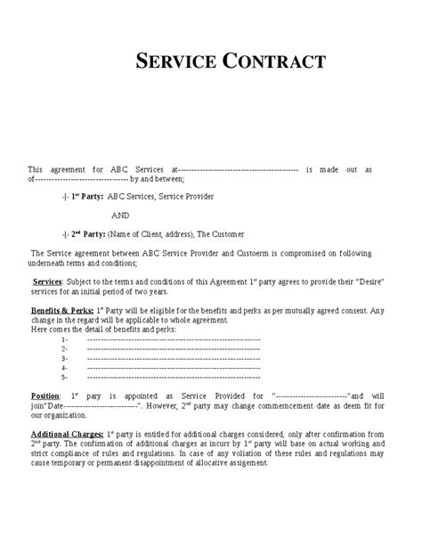 contract template for services agreement service contract template free printable documents