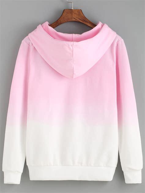 pink pattern hoodie hooded pink ombre loose sweatshirtfor women romwe