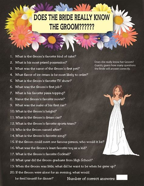 Chalkboard Does the Bride Really know the Groom, Bridal