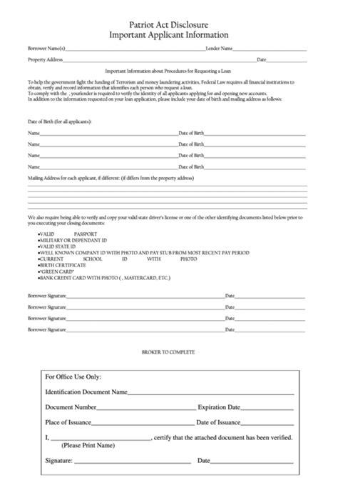 patriot act disclosure template important applicant