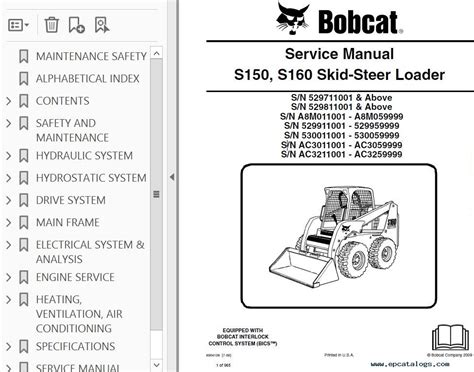 Bobcat S150 S160 Skid Steer Loader Service Manual Pdf