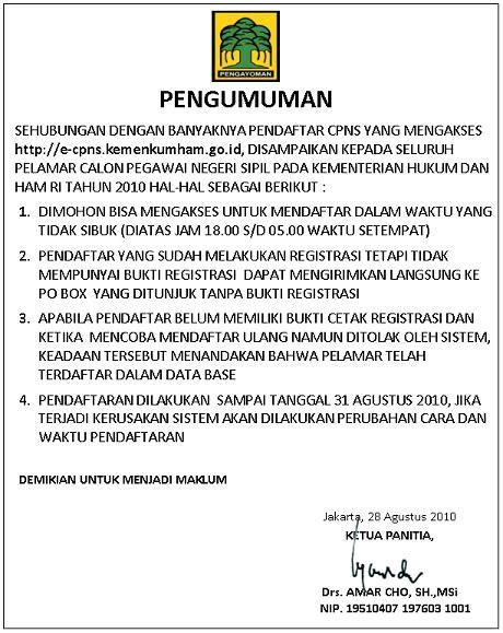 Contoh Lamaran Cpns Kemdikbud by Cpns 2010 Kementerian Hukum Dan Ham Alfatih Web