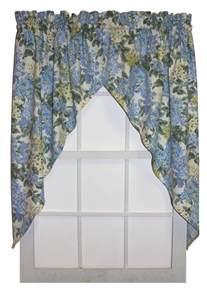Jabot Curtain Hydrangea Floral Print Jabots Window Curtains Pair