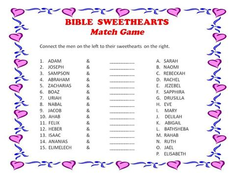 Printable Valentine Games For Church | this might be a good game for a meeting with a sweetheart