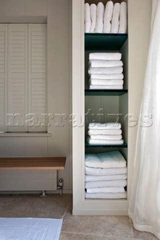 Bathroom Towel Storage Uk Pe101 08 Folded White Towels On Storage Shelves In Ba