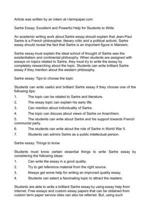 Sartre Essay by Calam 233 O Sartre Essay Excellent And Powerful Help For Students To Write