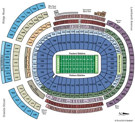 seating chart lambeau lambeau field tickets and event calendar