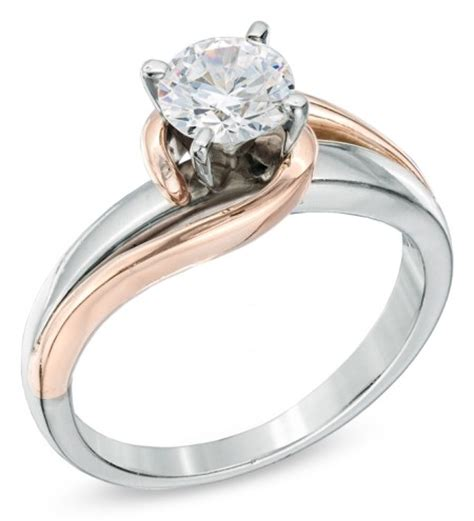 solitaire swirl engagement ring in 14k two tone