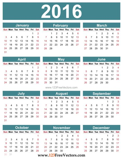 Free Calendar Yearly Calendar 2016 To Print Hd Calendars 2017 Kalendar