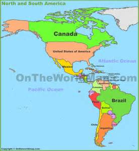 map of and south america
