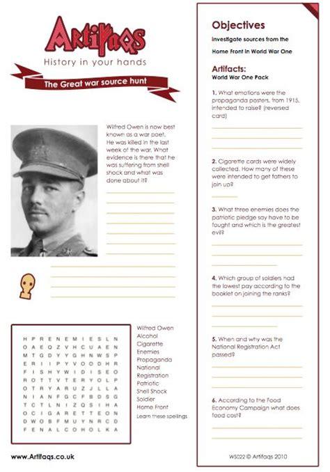 ww1 biography ks2 free worksheet the great war source hunt objectives